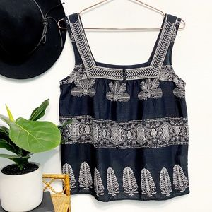 LUCKY Square Neck Black Boho Embroidered Tank Top